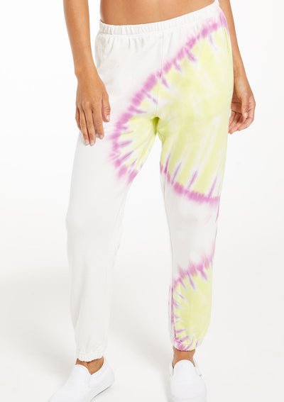 Z Supply Sunburst Tie Dye Jogger in White - Whim BTQ