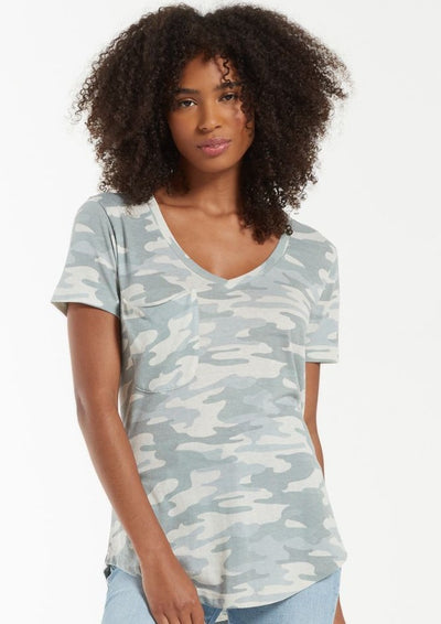 Z Supply Camo Pocket Tee in Dusty Sage - Whim BTQ