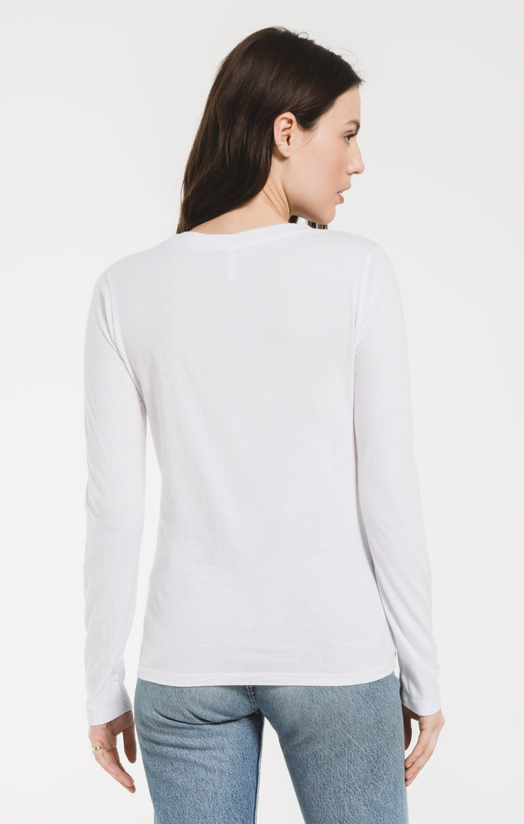 Z Supply PERFECT LONG SLEEVE CREW TEE in White - Whim BTQ