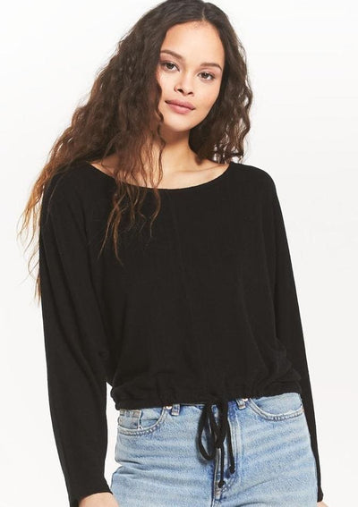 Z Supply Dollie Slub Sweater Top in Black - Whim BTQ