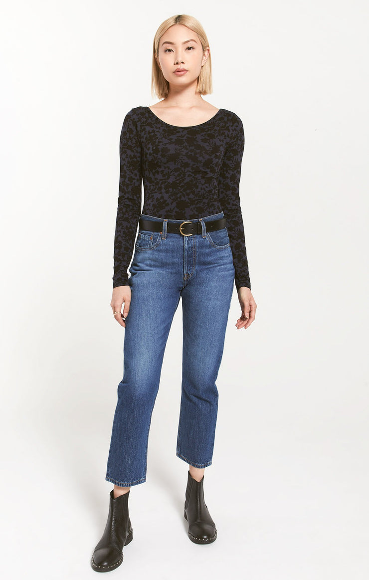 Z Supply TILDA FLORAL BODYSUIT in Deep Indigo - Whim BTQ