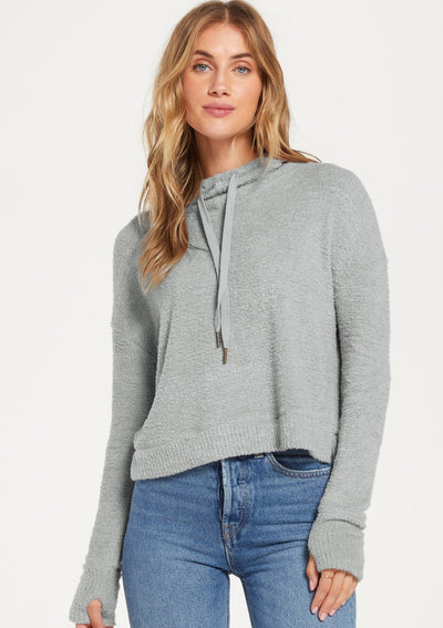 Z Supply Kacey Feather Hoodie in Mint Ash - Whim BTQ