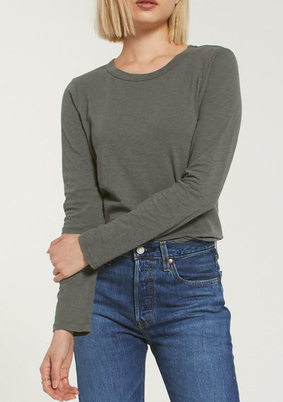 Z Supply EVERYDAY SLUB LONG SLEEVE in Ash Green - Whim BTQ