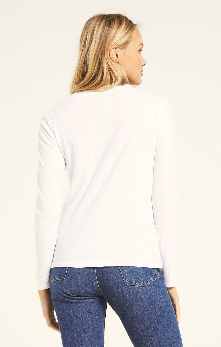 Z Supply EVERYDAY SLUB LONG SLEEVE in White - Whim BTQ