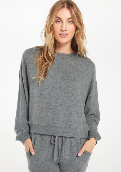 Z Supply Noa Marled Top in Ash Green - Whim BTQ