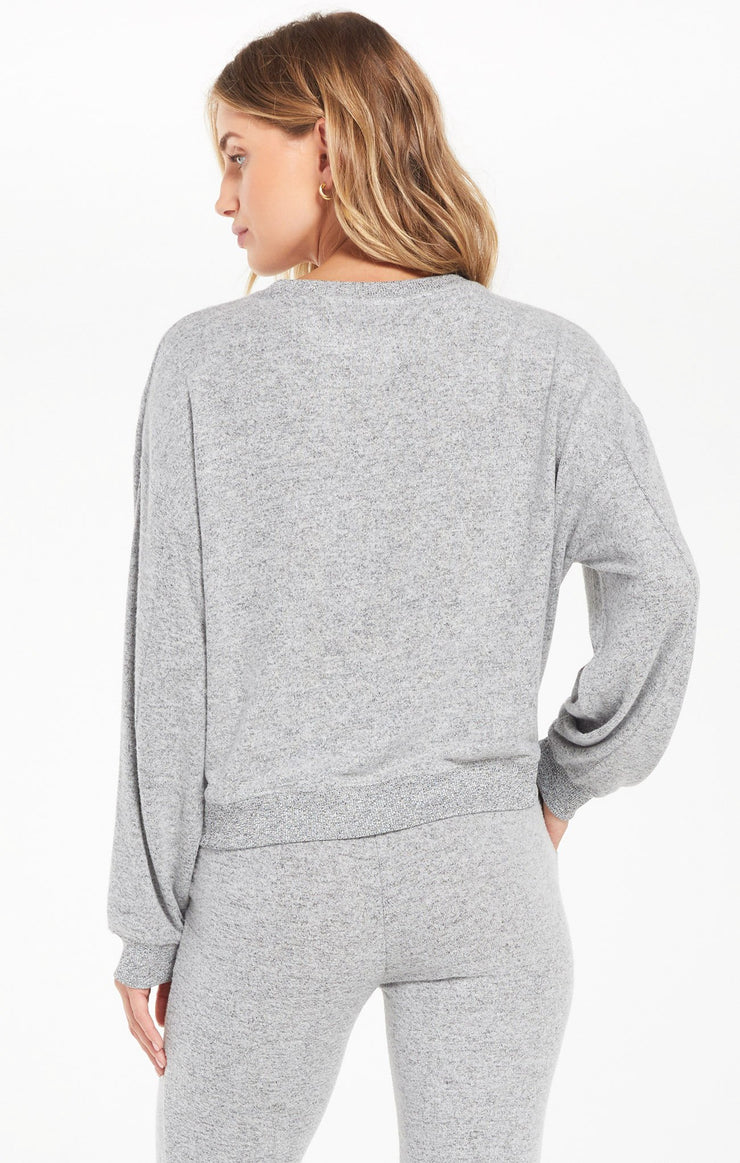 Z Supply Noa Marled Top in Heather Grey - Whim BTQ