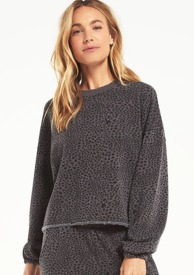 Z Supply CRUISE STARDUST SWEATSHIRT in Charcoal - Whim BTQ