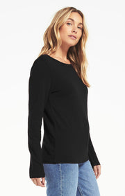 Z Supply Everyday Brushed Slub Long Sleeve in Black - Whim BTQ