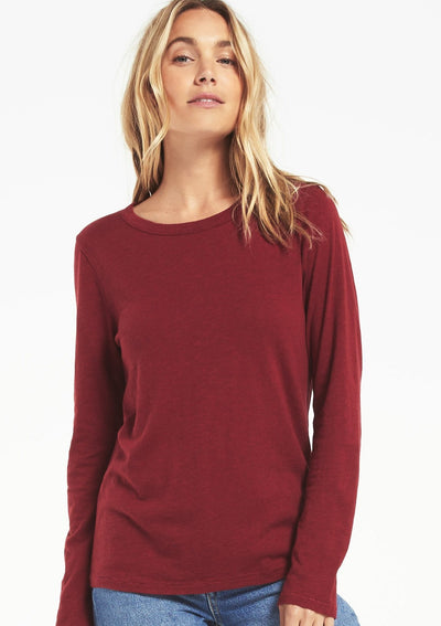 Z Supply EVERYDAY BRUSHED SLUB LONG SLEEVE in Cabernet - Whim BTQ