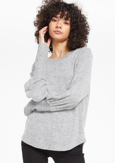 Z Supply VADA MARLED TOP in Heather Grey - Whim BTQ