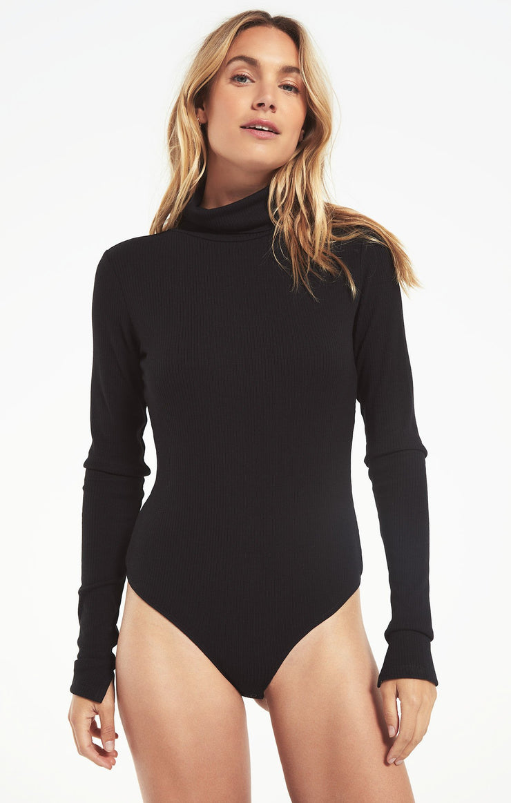 Z Supply CHLOE RIB BODYSUIT in Black - Whim BTQ