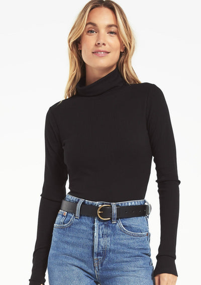 Z Supply CHLOE RIB BODYSUIT in Black