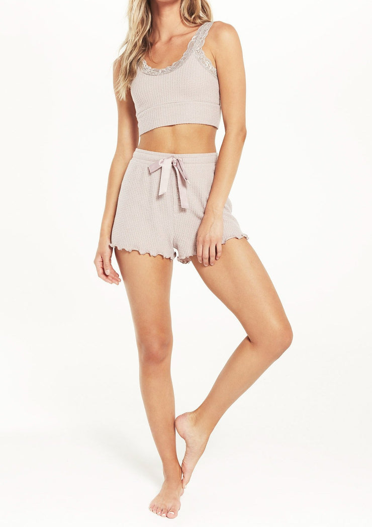 Z Supply Frills Thermal Short in Dusty Rose - Whim BTQ