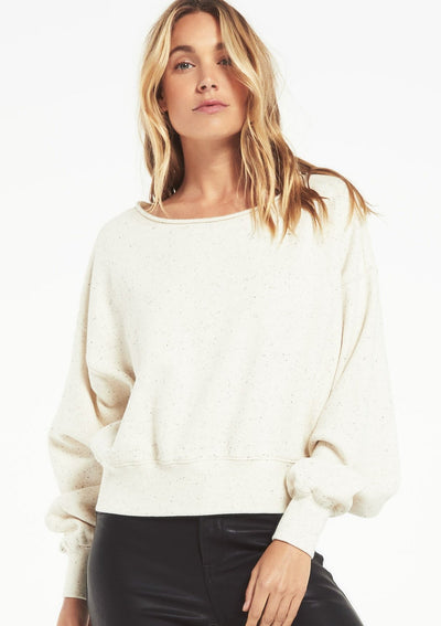Z Supply ALLIE SPECKLED SWEATSHIRT in Natural