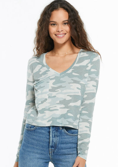 Z Supply SKIMMER CAMO LONG SLEEVE POCKET TEE in Dusty Sage - Whim BTQ