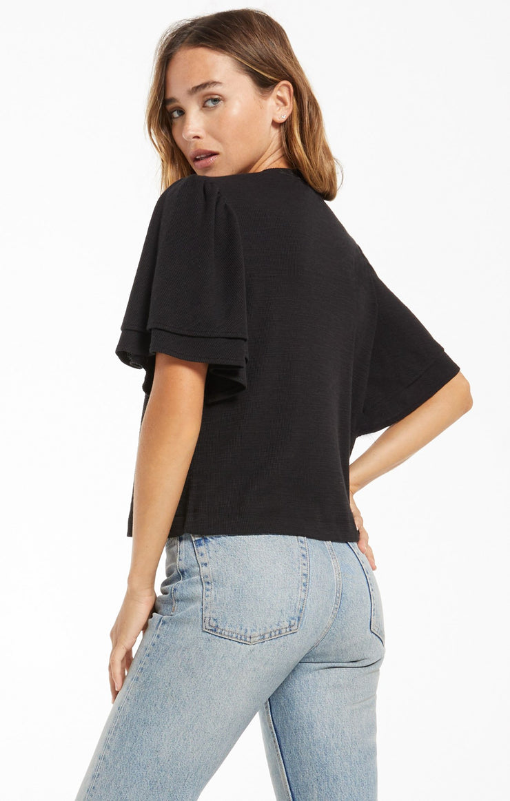 Z Supply Blake Slub Ruffle Top in Black - Whim BTQ