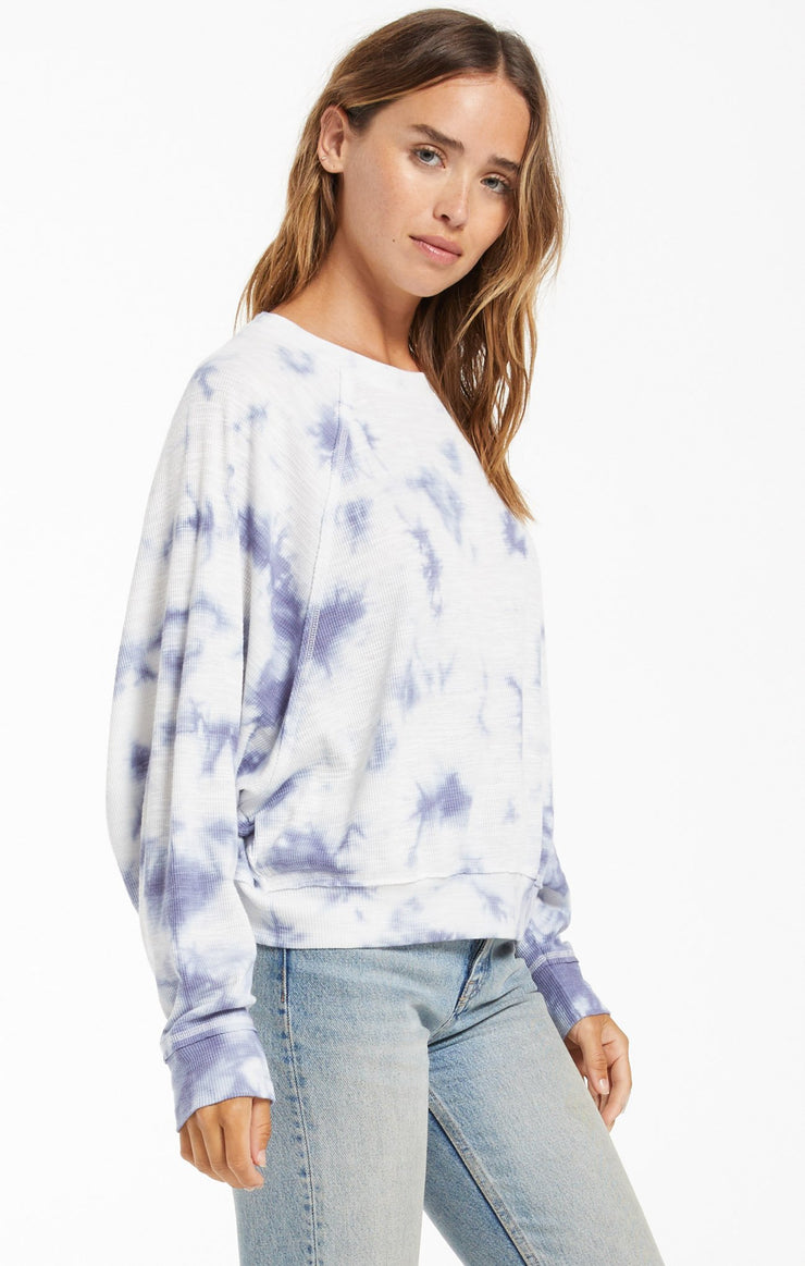 Z Supply Claire Cloud Tie-Dye Top in Dusty Navy - Whim BTQ