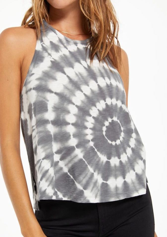 Z Supply Astra Spiral Tie-Dye Tank in Charcoal - Whim BTQ