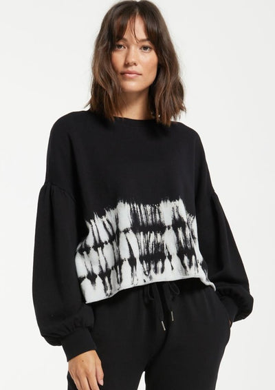 Z Supply Tempest Stripe Tie-Dye Crew in Black - Whim BTQ