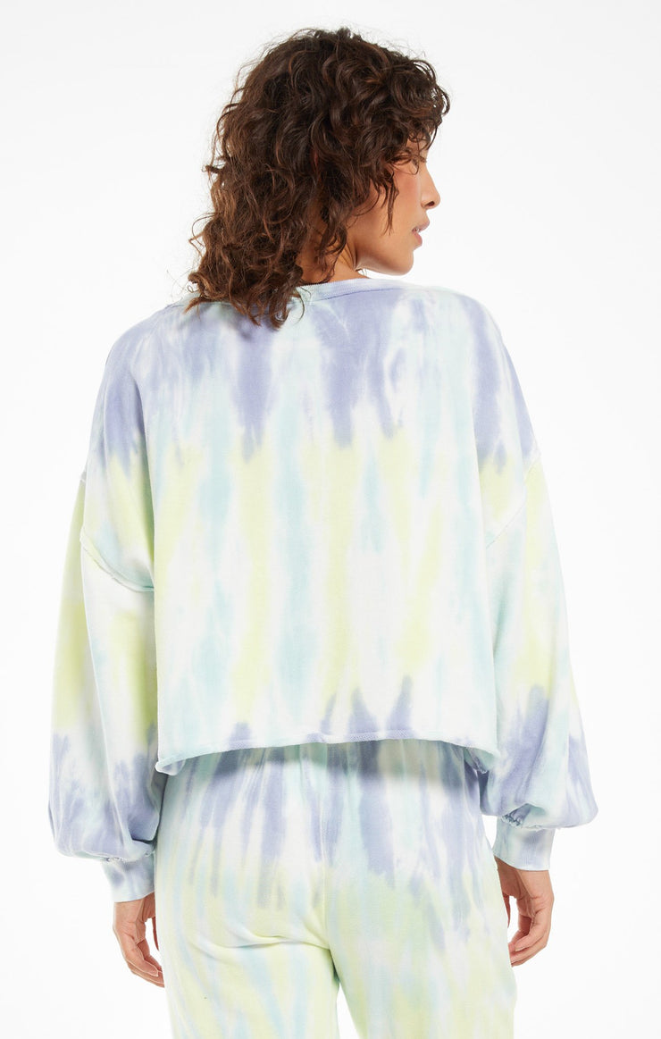 Z Supply Tempest Tie-Dye Pullover in Lavender Grey - Whim BTQ