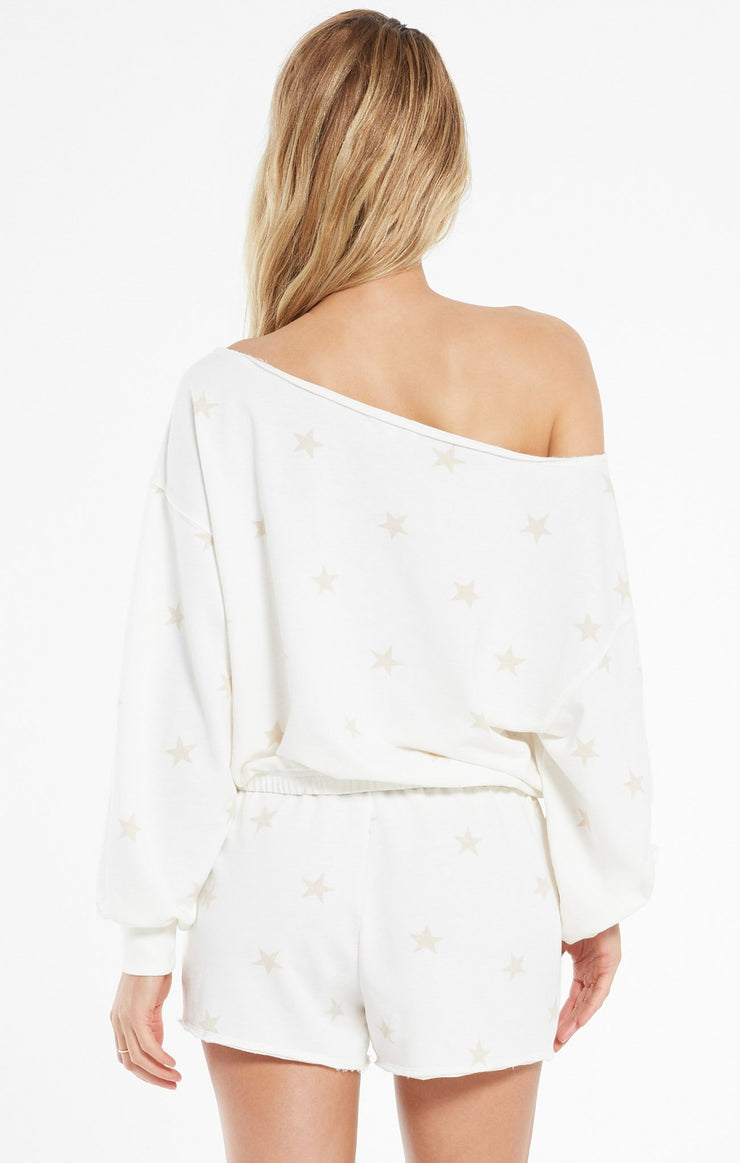 Z Supply Zoe Summer Star Terry Sweatshirt in Sand Dollar - Whim BTQ