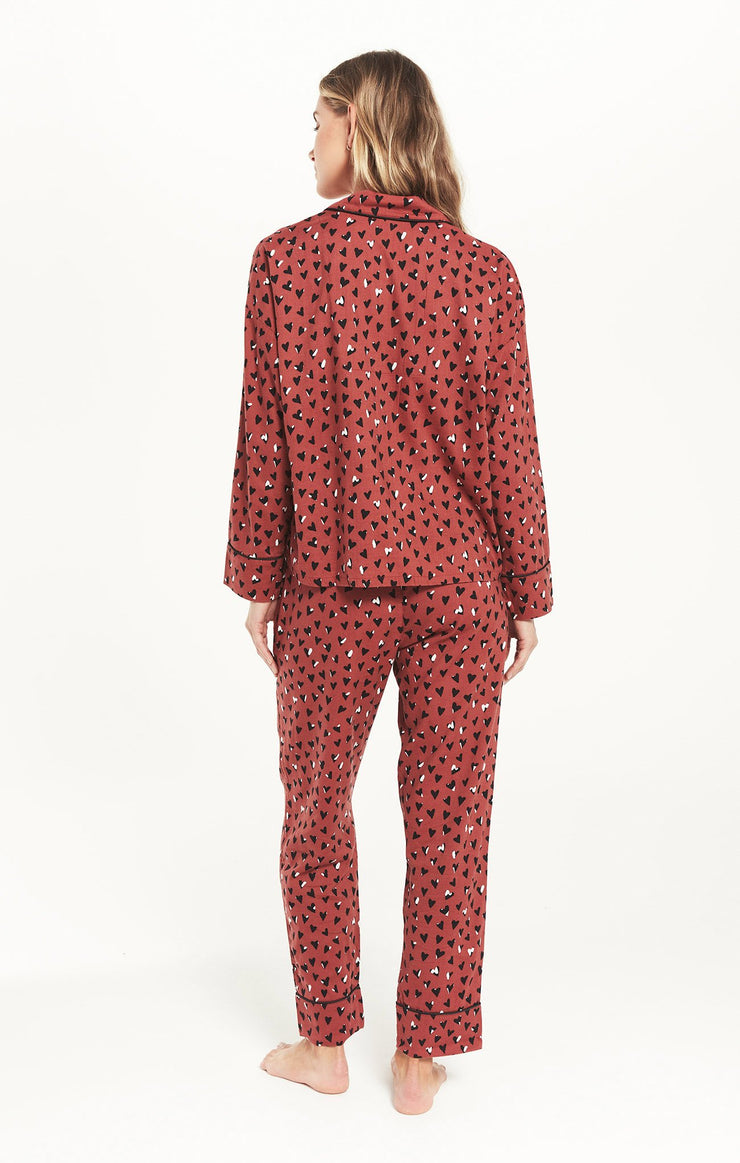 Z Supply Dream State Heart PJ Set in Rosy Red - Whim BTQ