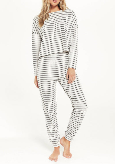 Z Supply FEEL GOOD STRIPE LOUNGE SET in Vanilla Ice - Whim BTQ