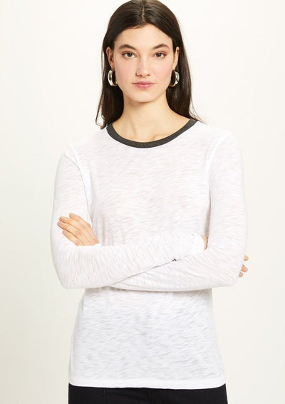 Goldie Long Sleeve Pointelle Ringer Tee in White - Whim BTQ
