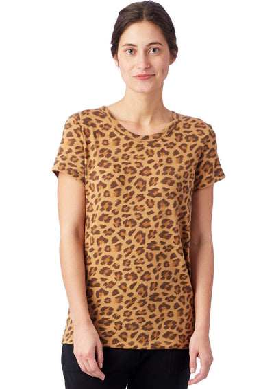 Alternative Apparel Ideal Printed Eco-Jersey T-Shirt in Leopard
