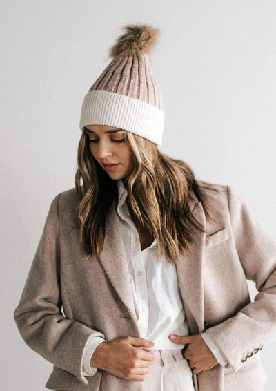 Gigi Pip ERIN BEANIE - BLUSH AND WHITE - Whim BTQ