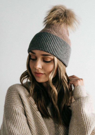 Gigi Pip ERIN BEANIE - TAUPE AND GREY - Whim BTQ