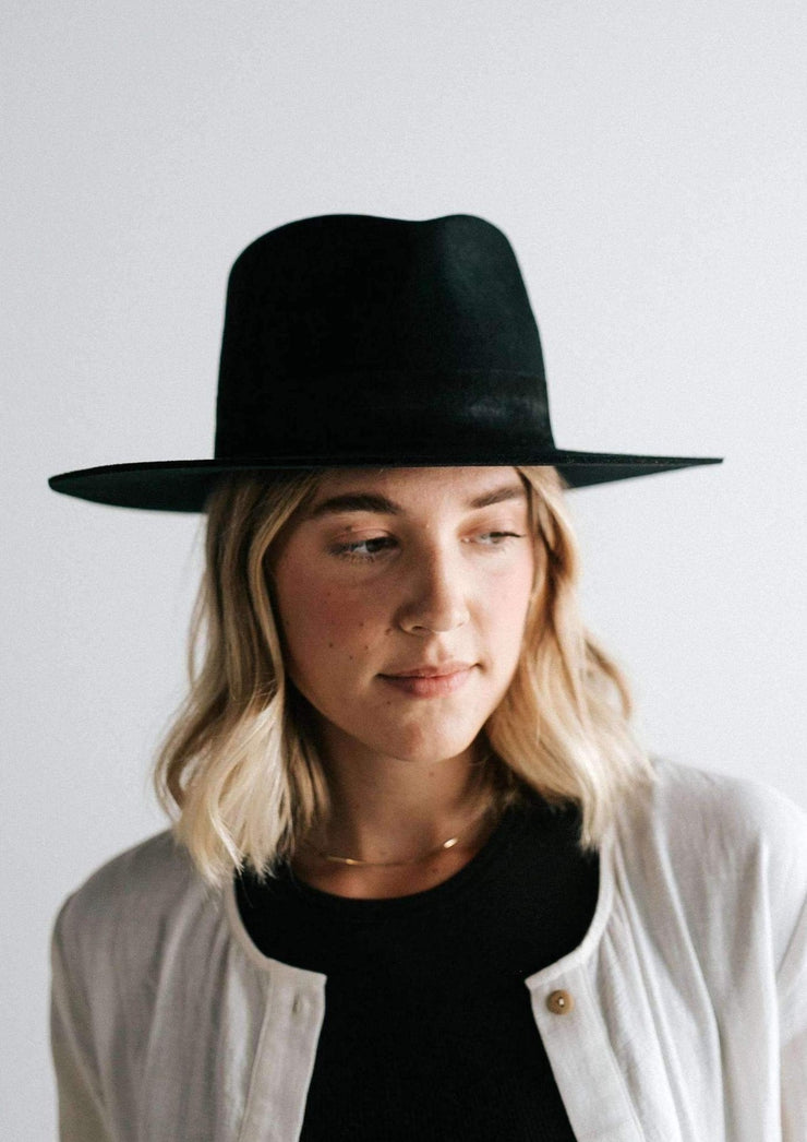 Gigi Pip Miller Fedora - Black With Black Band - Whim BTQ