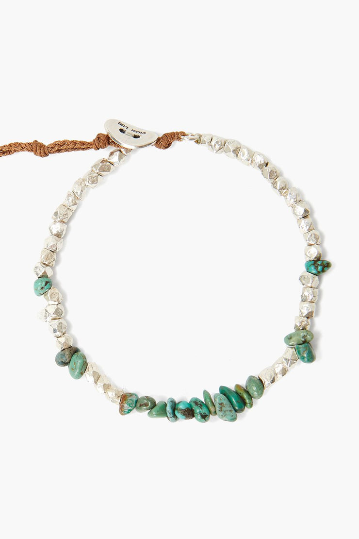Chan Luu Turquoise and Silver Nugget Bracelet - Whim BTQ