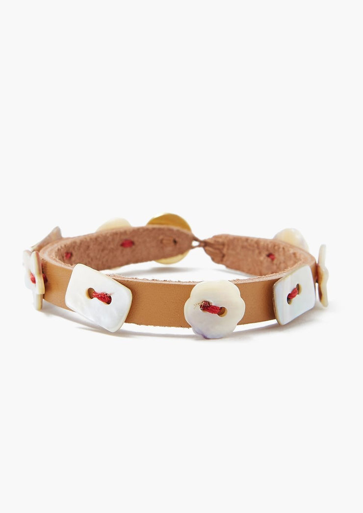Chan Luu Assorted Shell Button Bracelet On Leather - Whim BTQ