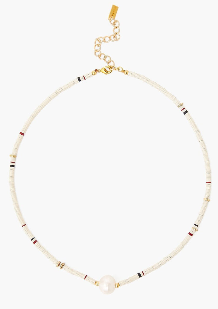 Chan Luu Cream Sequin Disc Short Necklace W/ Pearl - Whim BTQ