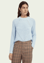 Scotch & Soda Fuzzy Knit With Cable Stitches in Cloud - Whim BTQ