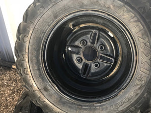 2003 Yamaha Kodiak 400 4x4 Rear Rims Wheels and Tires Maxxis 25x10-12