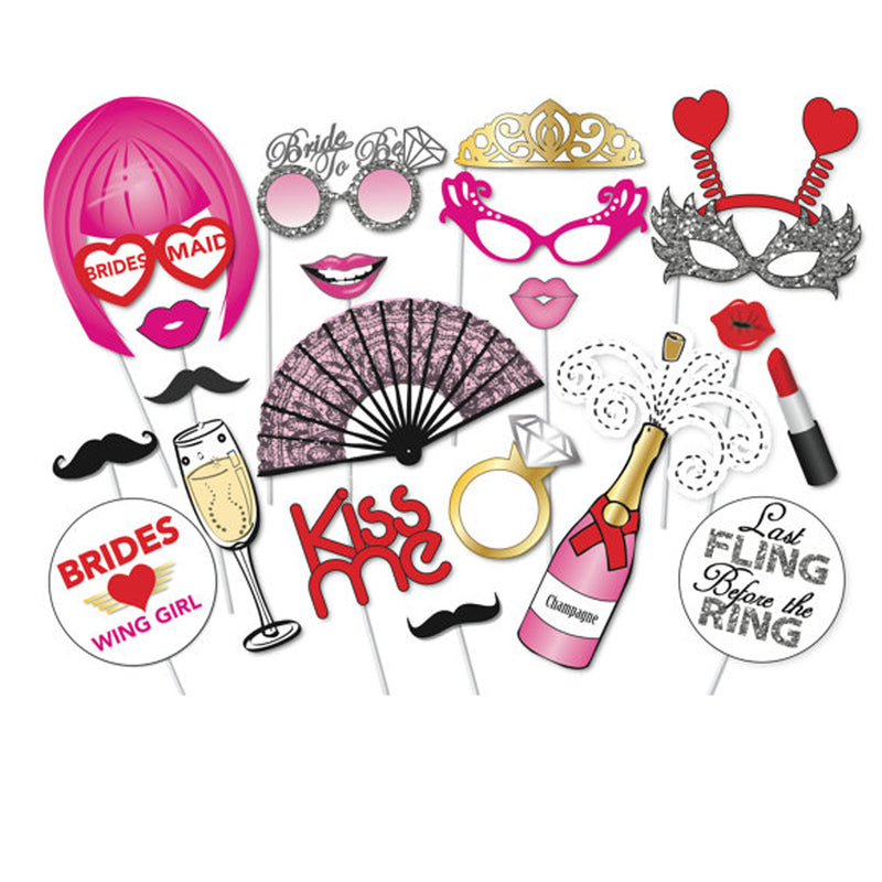 22PCS Hen Party Photo Booth Props Kit Night Games Accessories Favors DIY Night Out Decorations Bachelorette Party Accessories - cake decorations ideas