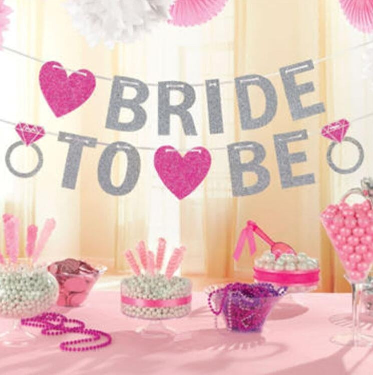 Bride To Be Banner Silver Glitter Garland Wedding Bridal Shower Bachelorette Party Hen Party Girl's Night Banner Photo Props - cake decorations ideas