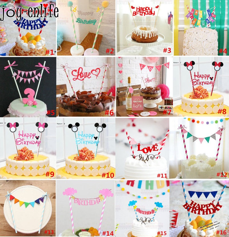Happy Birthday Cake Topper For Kids Party Decoration Supplies Wedding Baby Shower Cheap