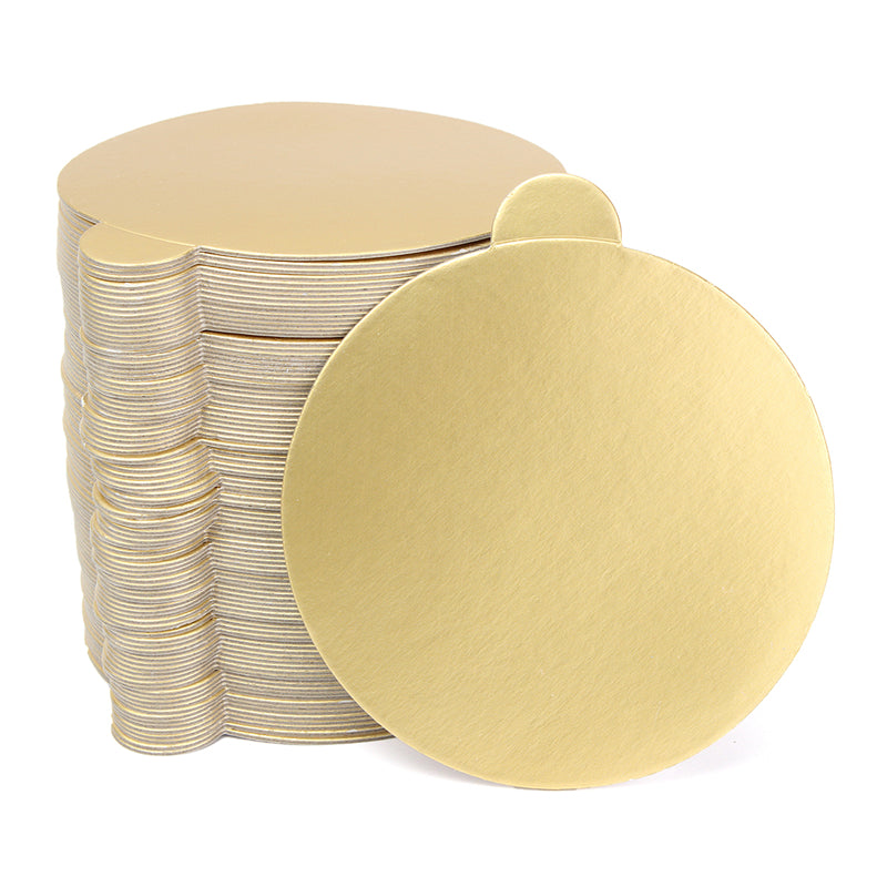100pcsSet Round Mousse Cake Boards Gold Paper Cupcake Dessert - Wedding Cake Boards