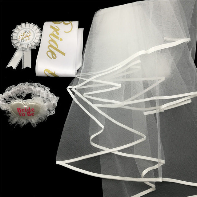 Chicinlife 4Pcs/Set Bride To Be bridal sash Badge/Veil/Garter/Sash Hen Night Gifts Bachelorette Party sash Wedding Decoration - cake decorations ideas