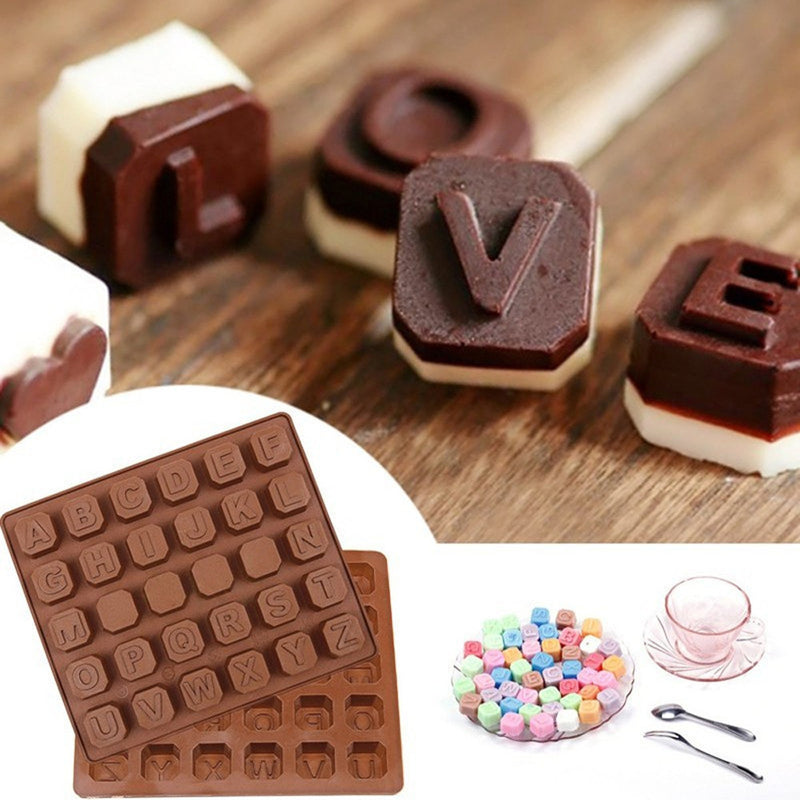 26 Letter Silicone Mold Chocolate Spaces Ice Cube Mold Cake Mold Bbaking Mold - cake decorations ideas