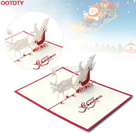 Card Christmas Decorations 3D Pop Up Holiday Greeting Cards Santa's Sleigh Deer Thanksgiving Gift #H0VH# - cake decorations ideas