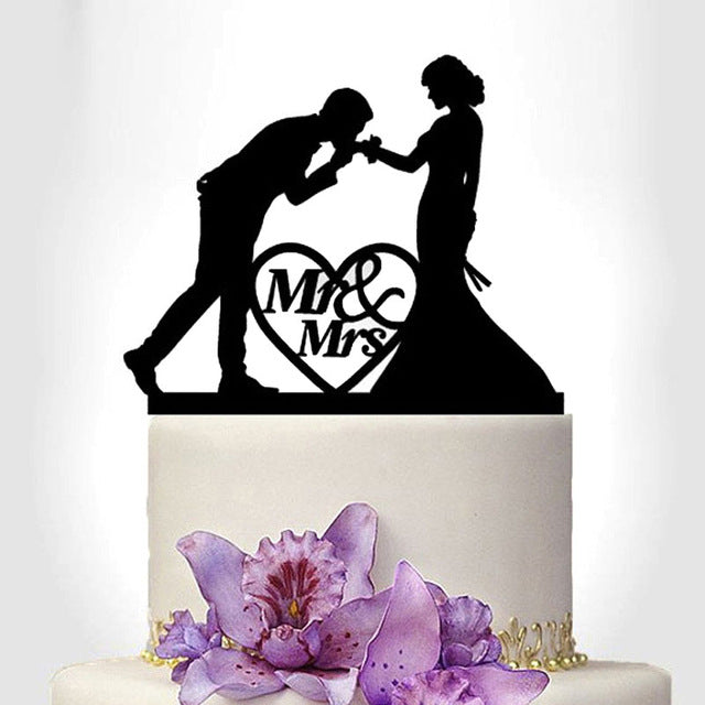 Tronzo New Black Acrylic Wedding Cake Topper For Decor Mariage Mr Mrs Bride Groom Family Cake Toppers Bridal Shower Decoration - cake decorations ideas