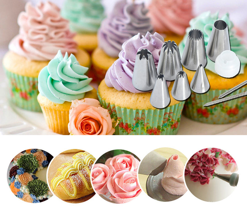 24 Stainless Steel Icing Piping Nozzles Set DIY Cake Decorating Tips