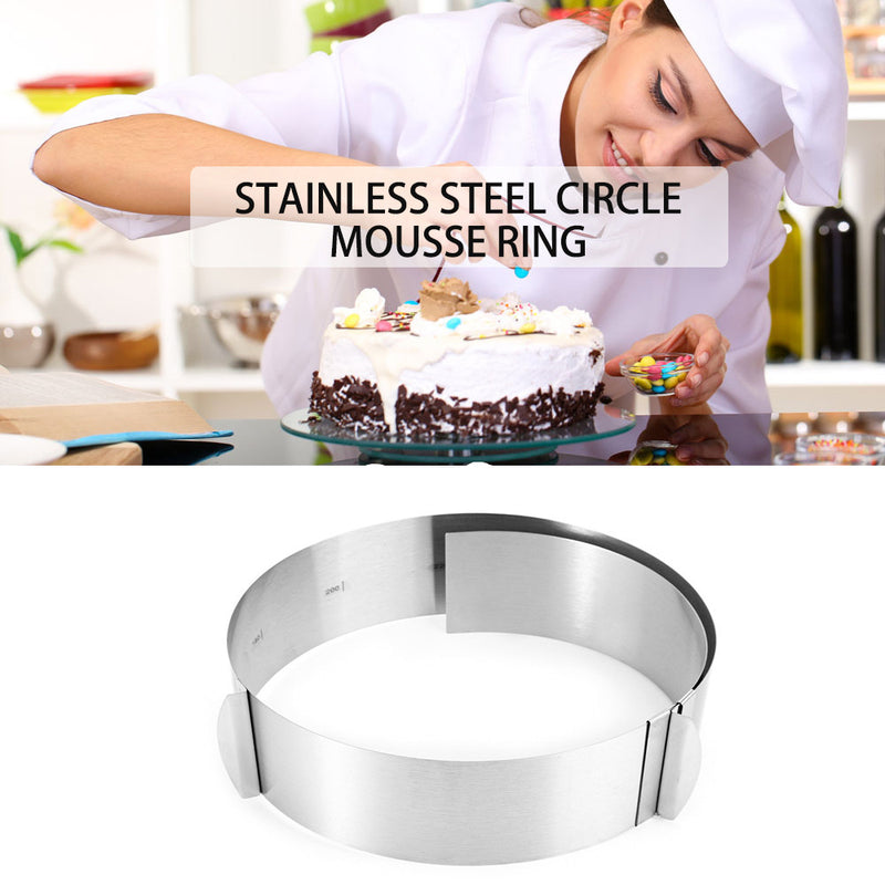 Retractable Circle Cake Mold Mousse Ring Cake Mold Stainless Steel Size Adjustable Bakeware Retractable Circle 6-12 inch - cake decorations ideas