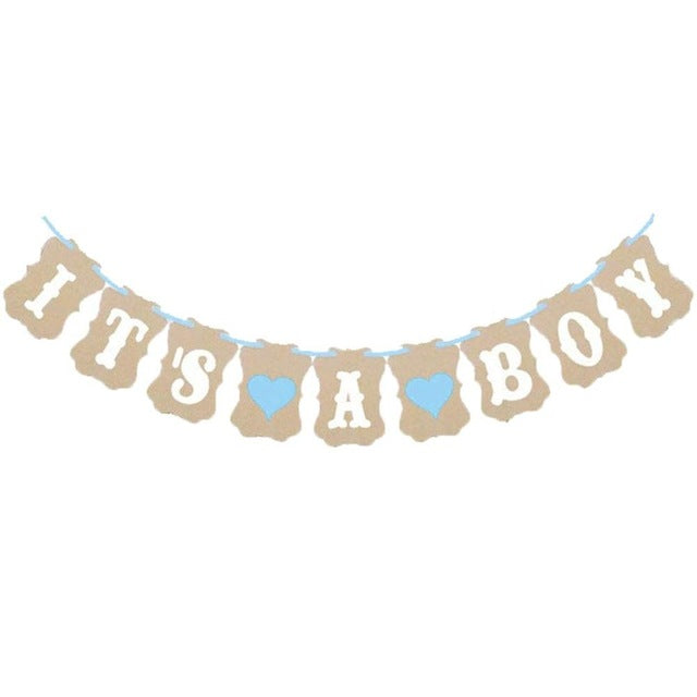 Party Supplies It's A Boy / Girl Hearts Bunting Banner Garland Baby Shower Decor Photo Props 2017ing - cake decorations ideas