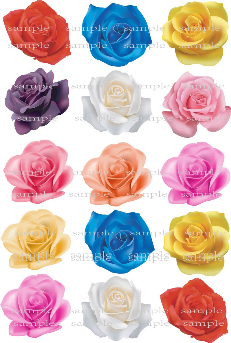 15 Big Real Rose Edible Cake Topper Wafer Rice Paper For Wedding