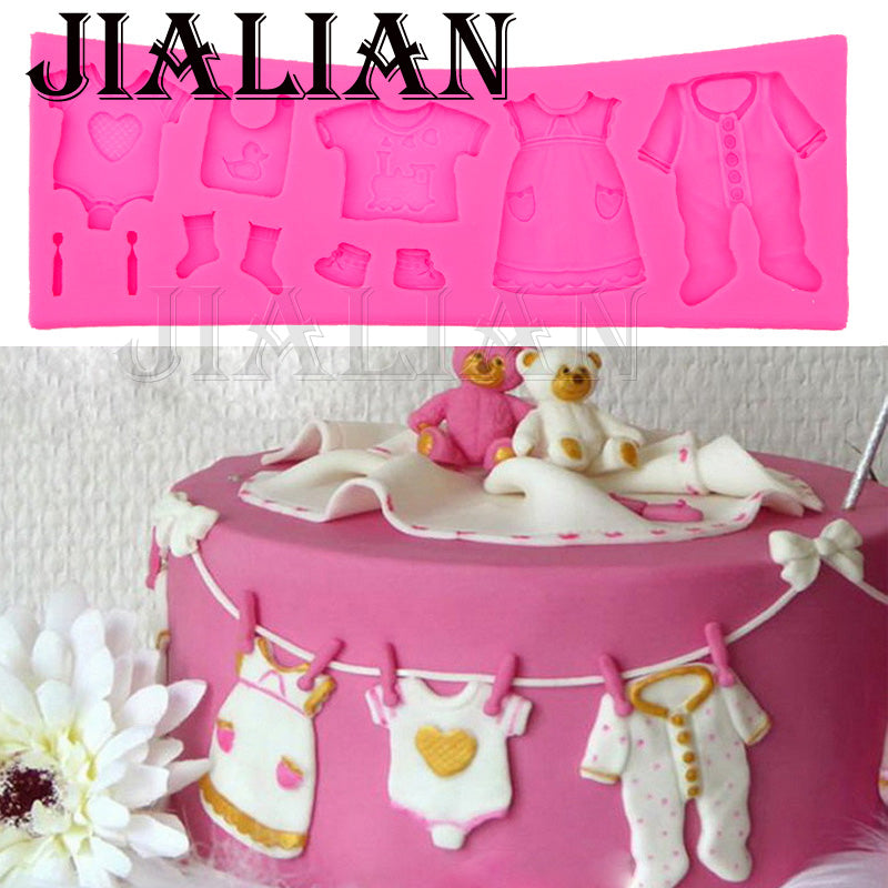 FREE 3D Baby Clothes Silicone Mould Fondant  Cake Decorating - cake decorations ideas
